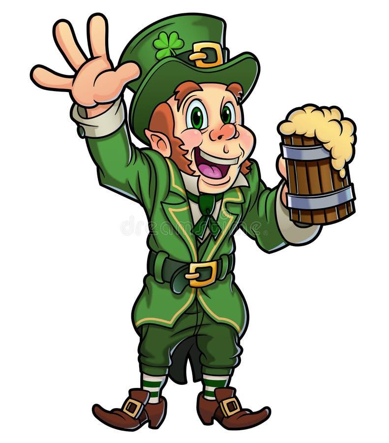 Lutin heureux tenant la bière illustration libre de droits
