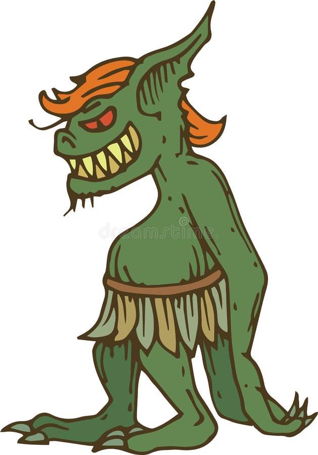 Lutin vert ou vue de côté de Troll illustration de vecteur