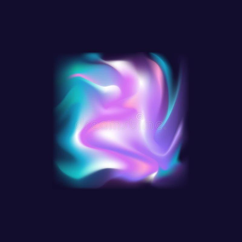 Lutning b för flöde för färger för turkos för suddiga vätskeelektriska krabba holographic för silkeabstrakt begrepp mjuka vibrera stock illustrationer