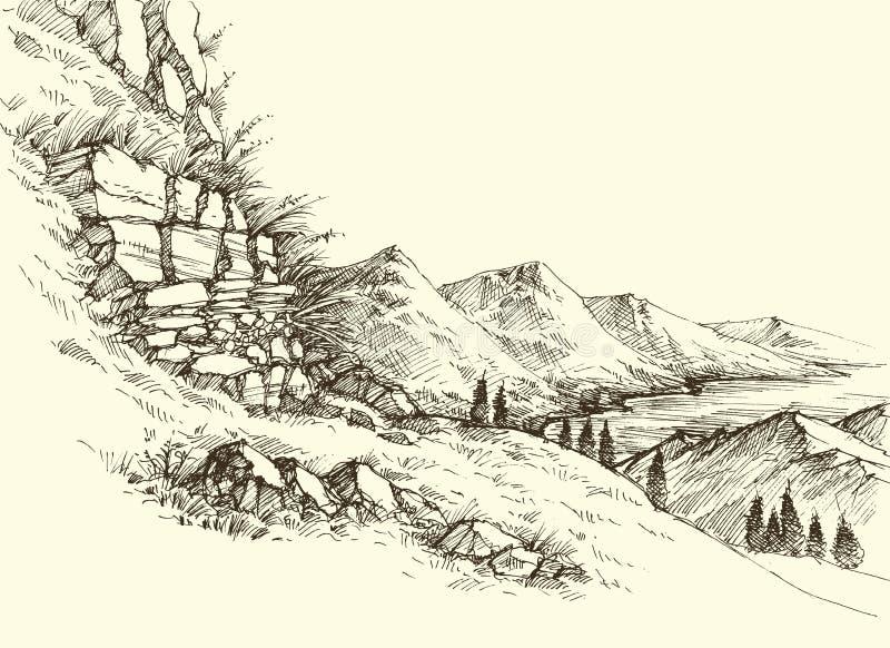 Lutning för höga berg och flodlandskap stock illustrationer