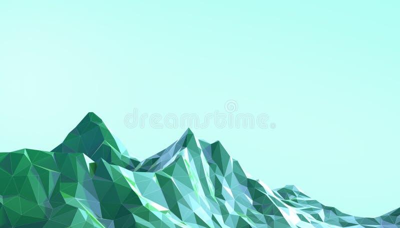 Lutning för konst för berglandskap som låg poly är psykedelisk med färgrika blått på bakgrund royaltyfri illustrationer