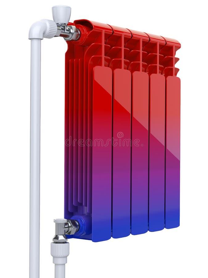 Lutning från förkylning till varmt - värmeapparatbegrepp Aluminiumuppvärmningelement med ventiler och rör för anslutning royaltyfri illustrationer