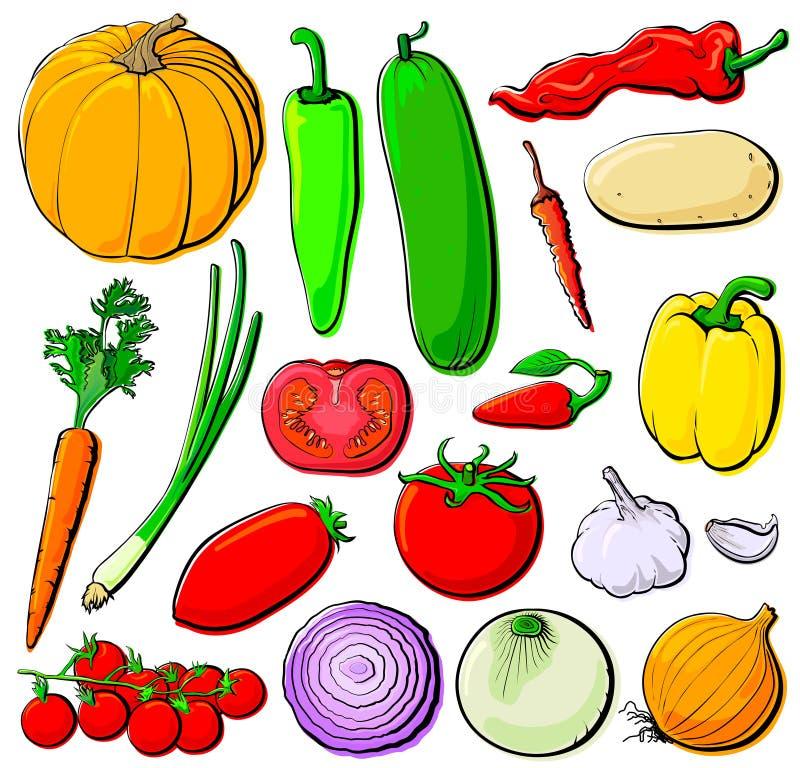 lutningar ställde in grönsaker vektor illustrationer