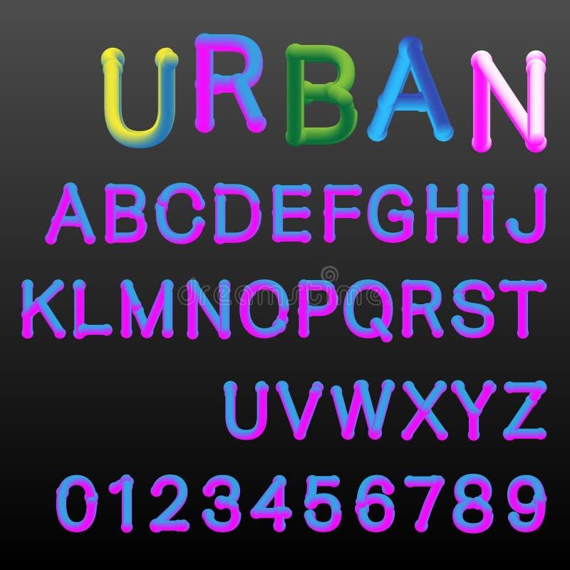 lutningen 3d färgar alfabetstilsortsmallen vektor illustrationer
