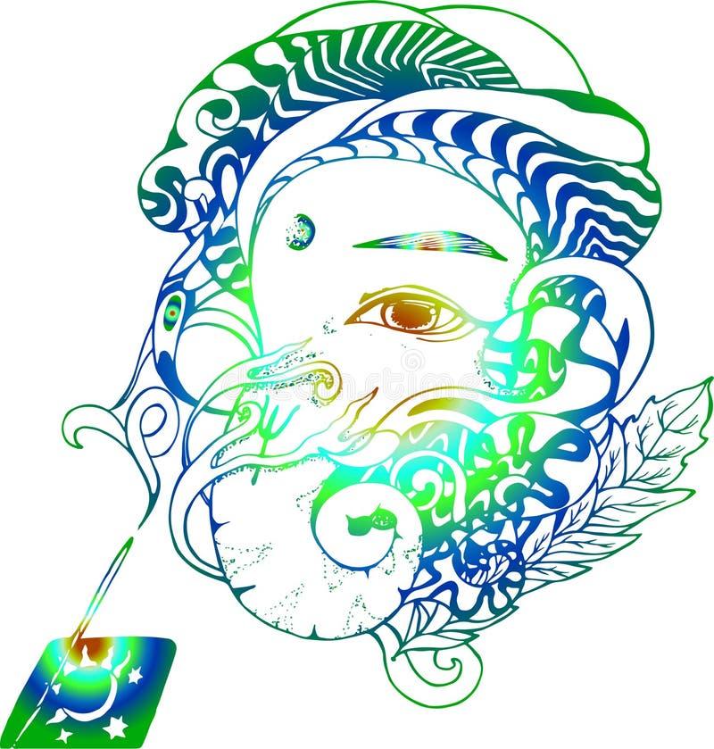 Lutningillustration av den Ganesha illustrationen Ganapati och r?kelse vektor illustrationer