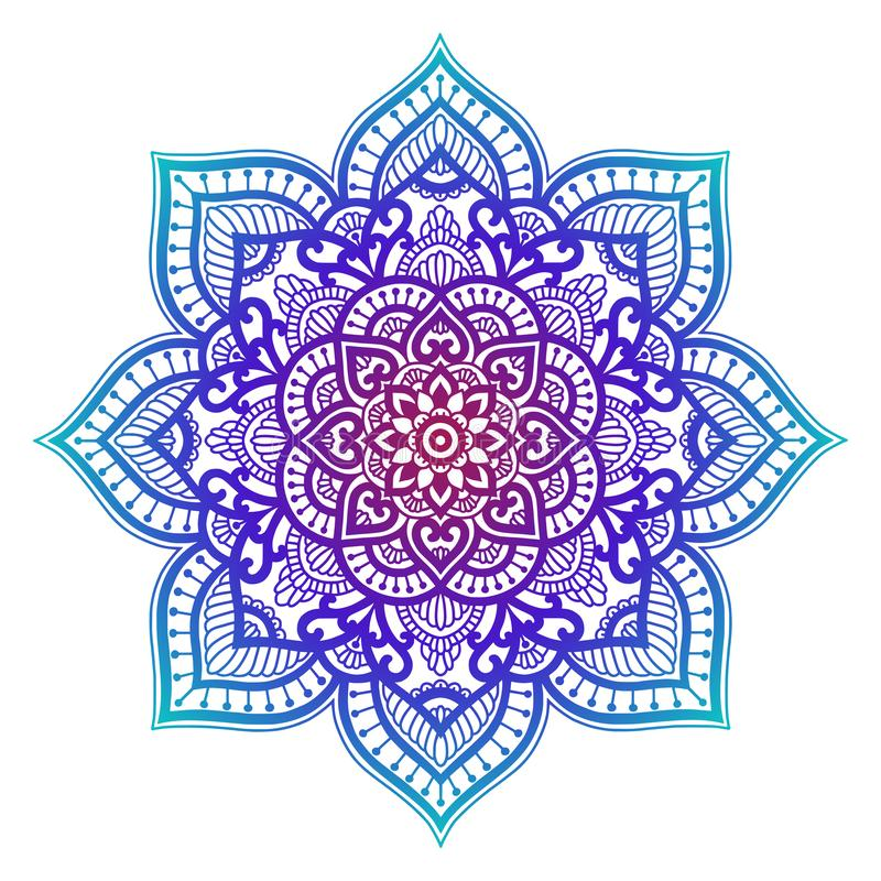 Lutningmandala Etnisk prydnad för cirkel Utdragen traditionell indisk rund beståndsdel för hand Andlig meditationyogahenna royaltyfri illustrationer