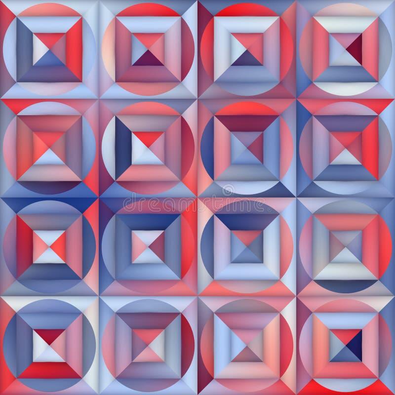 LutningMesh Square Circle Blocks Geometric för vektor sömlös trottoar i skuggor av blått och rött vektor illustrationer