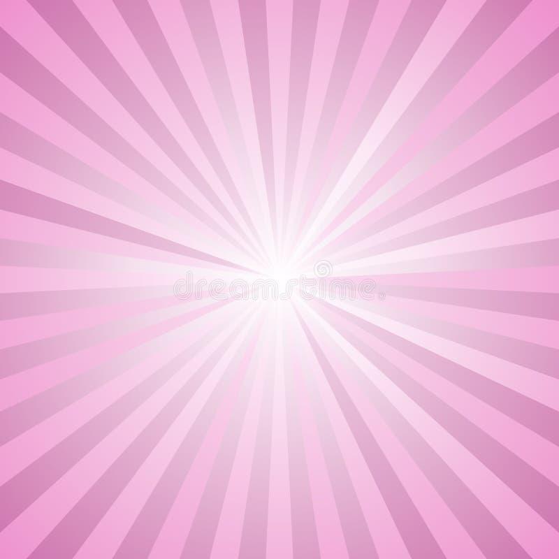 Lutningstjärnan brast bakgrund - retro grafisk design för vektor från radiella randiga strålar i rosa signaler royaltyfri illustrationer