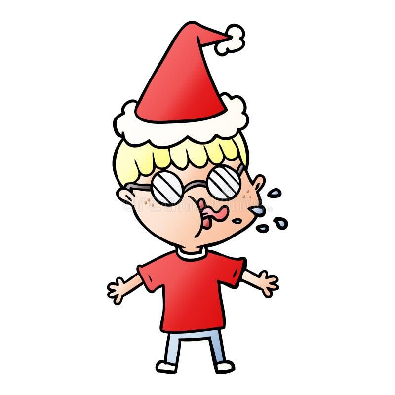 lutningtecknad film av b?rande anblickar f?r en pojke som b?r den santa hatten royaltyfri illustrationer