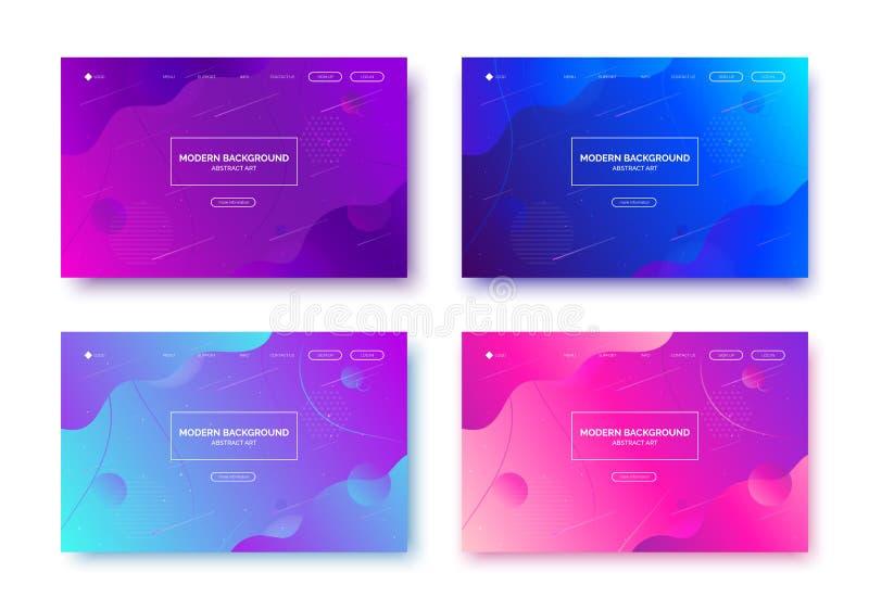 Lutningvätskebakgrund, baner för presentation som landar sidan, webbplats stock illustrationer
