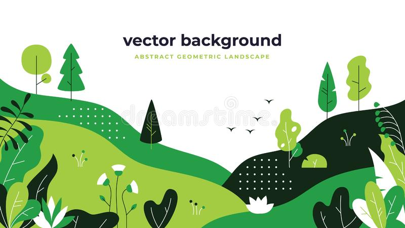Lutningväxtlandskap Den minsta lägenheten lämnar designen, bakgrund för tecknade filmen för färggraderingen, skogväxter Blom- nat vektor illustrationer