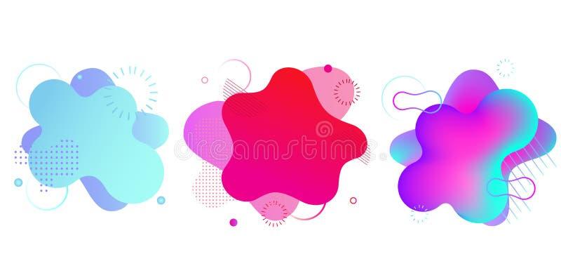 Lutningv?tskeformer som isoleras p? vit Färgrika vibrerande fläckar, bakgrunder Abstrakta banermallar royaltyfri illustrationer