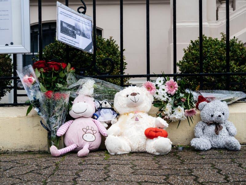 Luto ruso de la embajada del consulado de víctimas del fuego en Zimnyay fotos de archivo libres de regalías