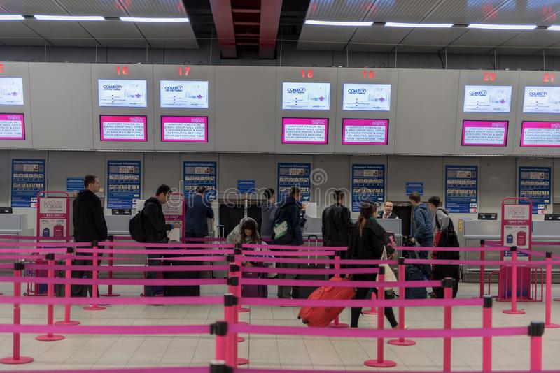 LONDON, ENGLAND - SEPTEMBER 29, 2017: Luton Airport Check in Area Interior. Wizzair Lines. London, England, United Kingdom. Luton Airport Check in Area Interior royalty free stock photos