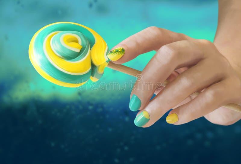 Lutscher in der Hand mit Nagelkunst lizenzfreie stockfotografie