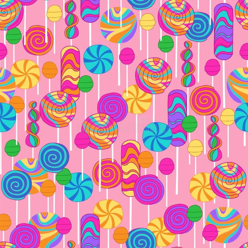 Lutscher-Süßigkeit-Wiederholungs-Muster lizenzfreie abbildung