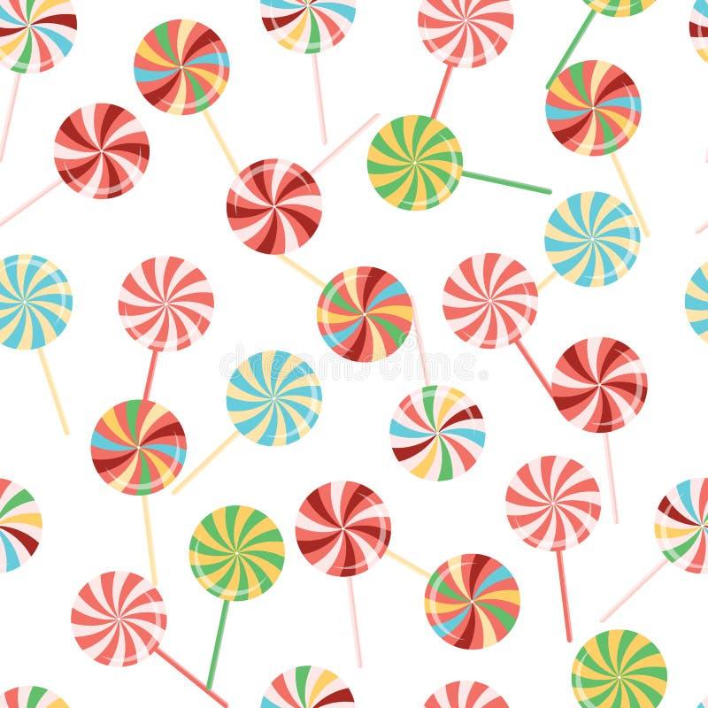 Lutscherhintergrundsammlung Bunte Süßigkeit auf Stock mit verdrehtem Design Bonbonmuster lizenzfreie abbildung