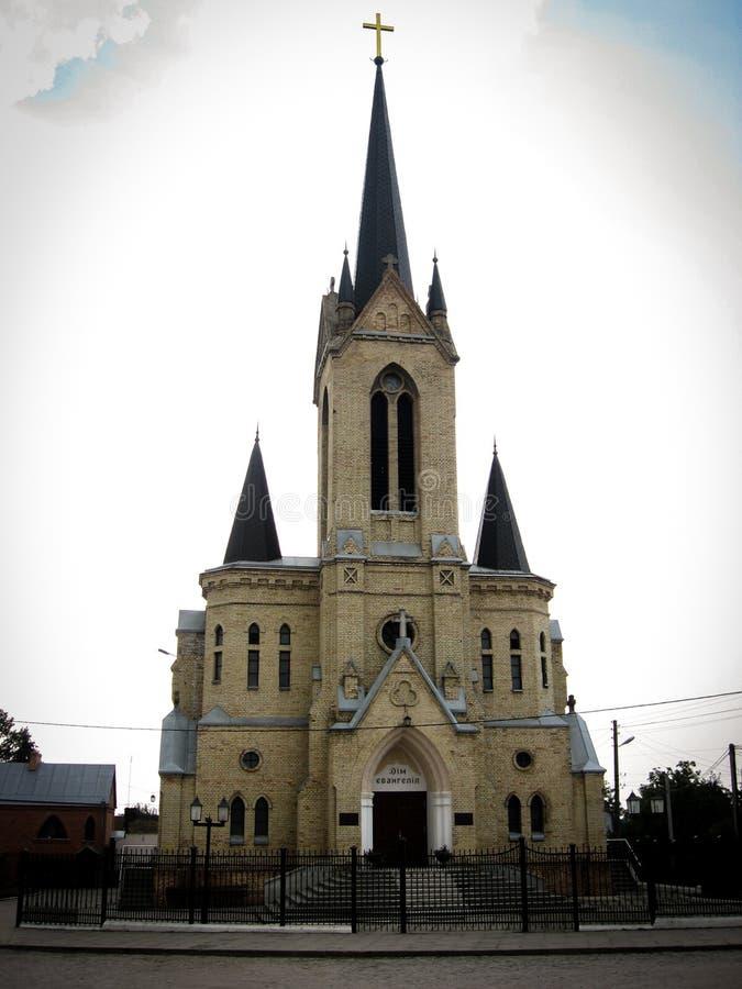 Lutsk, de Oekraïne - Augustus 23, 2008: Lutheran Kerk De tempel werd gebouwd in vroeg - Th-20 eeuw Nu is dit Baptist Church stock foto's