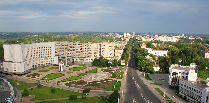 Lutsk, de Oekraïne - luchtmening royalty-vrije stock foto's