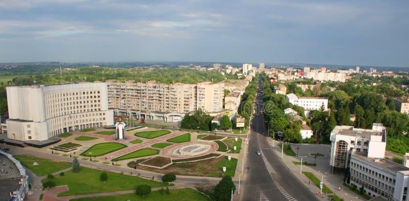Lutsk, Ukraine - aerial view. Aerial view to Kiev area in Lutsk, Ukraine royalty free stock photos
