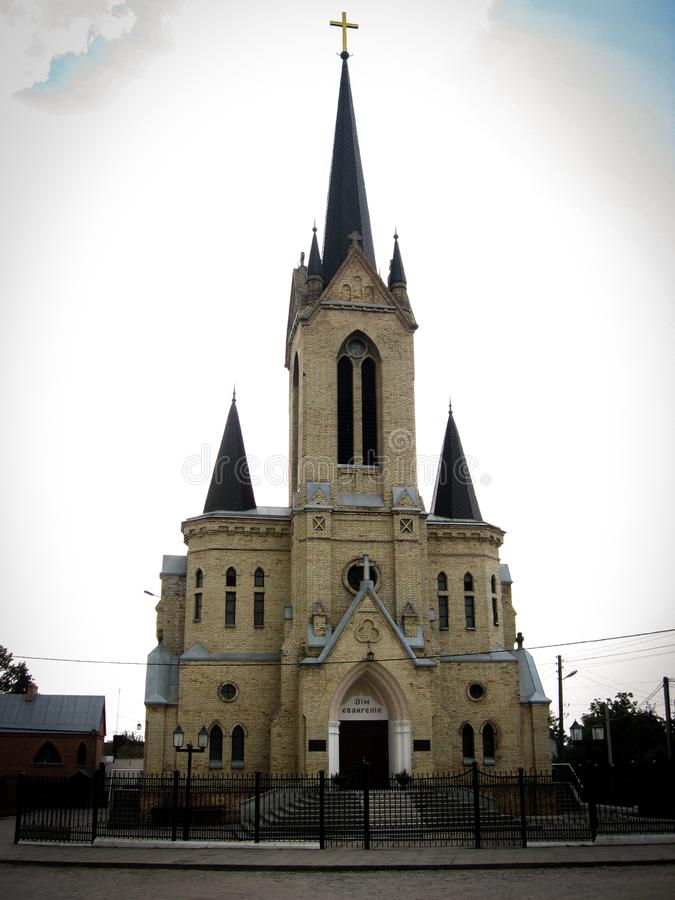 Lutsk, Ukraine - August 23, 2008: Lutheran Church. The temple was built in the early 20th century. Now this is the Baptist Church. `House of the Gospel stock photos