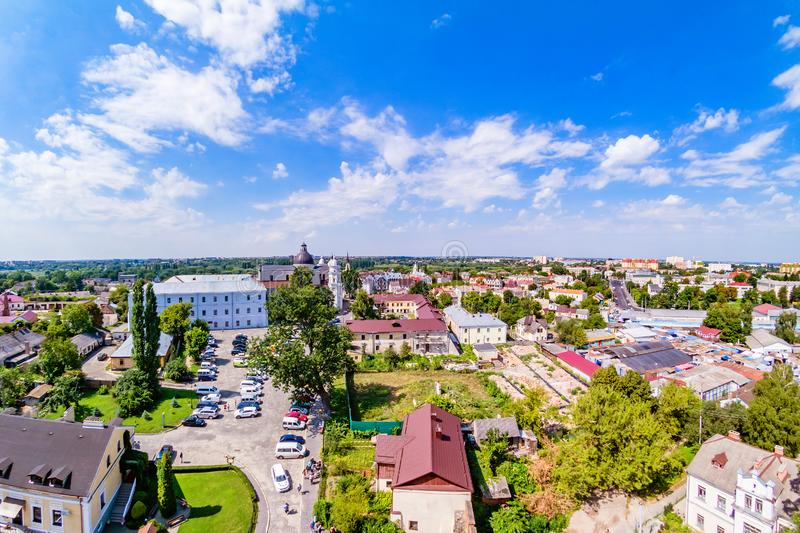 Lutsk cityscape from top of the Lubart castle stock photo