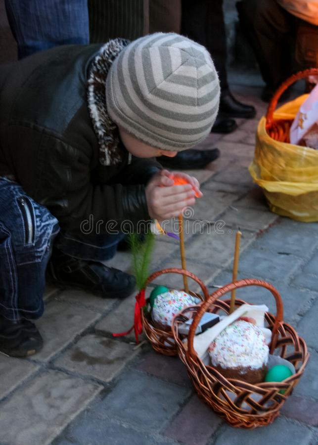 Little boy with Easter basket stock image