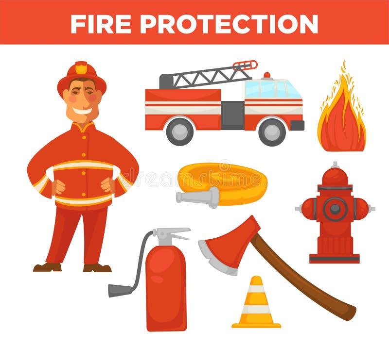Lutte anti-incendie et s'éteindre des icônes d'outils d'équipement illustration de vecteur