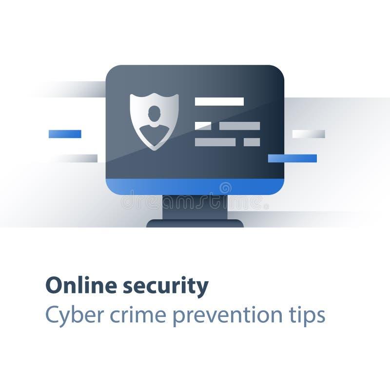 Lutte contre le crime de Cyber, concept personnel de protection des données, accès limité, antivirus d'ordinateur, moniteur et bo illustration libre de droits