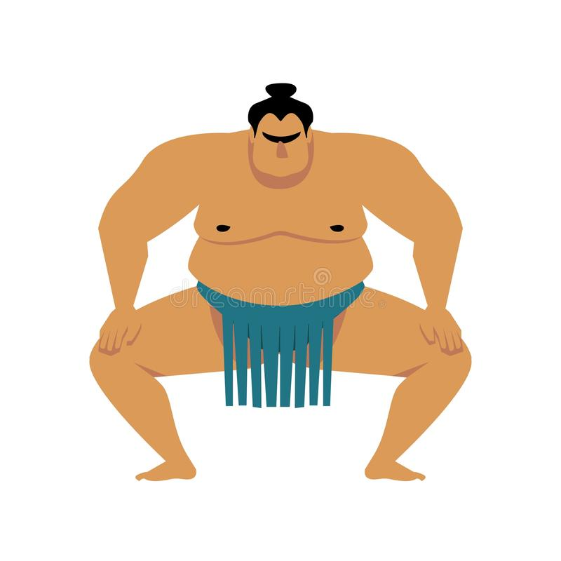 Lutteur de sumo Illustration de bande dessin?e de vecteur d'isolement sur le blanc Grand homme asiatique mignon illustration stock