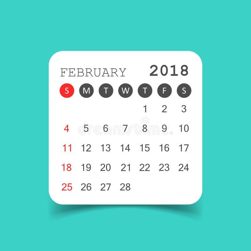 Luty 2018 kalendarz Kalendarzowy majcheru projekta szablon Tydzień s ilustracja wektor