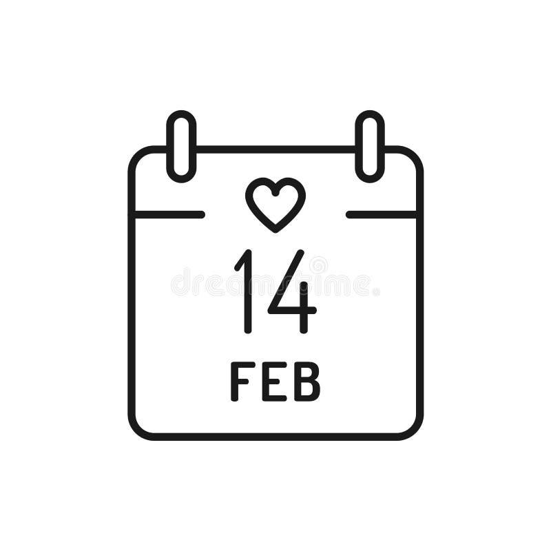 14 Luty kalendarza ikona Walentynka dnia kreskowej sztuki cienkie ikony, Wektorowa ilustracja ilustracja wektor