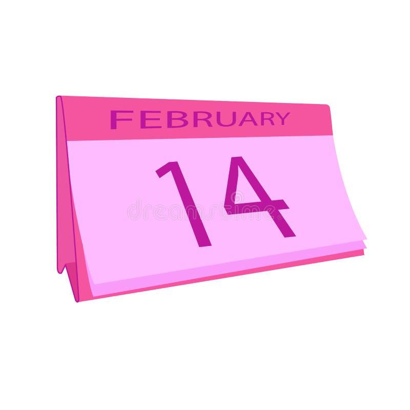 Luty 14 kalendarzowa ikona czerwona róża Miłość Wektorowy Ilustracyjny mieszkanie styl ilustracji