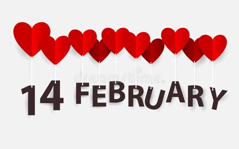 14 Luty obwieszenie z Czerwonymi Kierowymi balonami szczęśliwe dni valentines Papierowy sztuki i rzemiosła styl ilustracja wektor