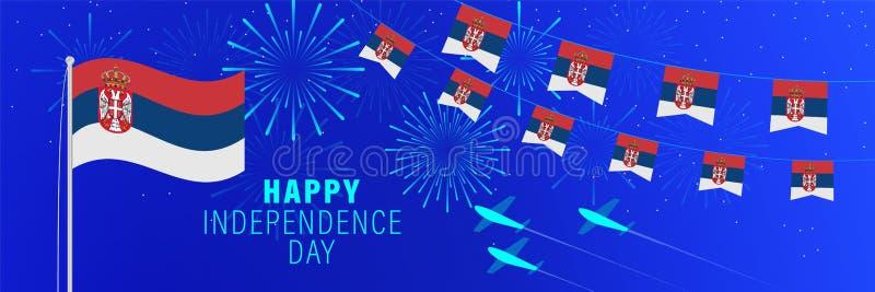 Luty15 Serbia dnia niepodległości kartka z pozdrowieniami Świętowania tło z fajerwerkami, flagami, flagpole i tekstem, ilustracji