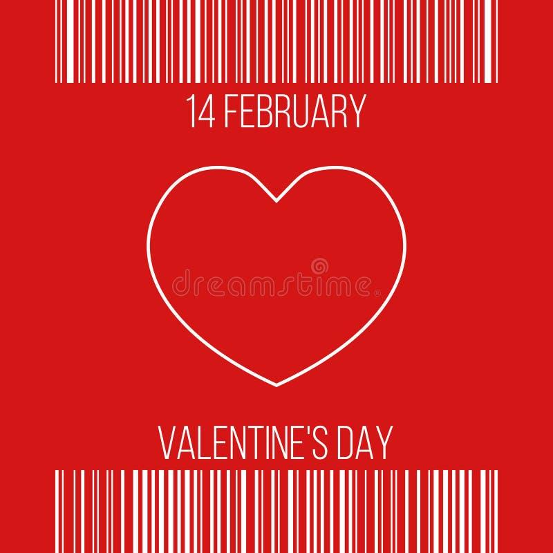 14 Luty - valentine ` s dzień, powitania w zakupy kwicie ilustracji