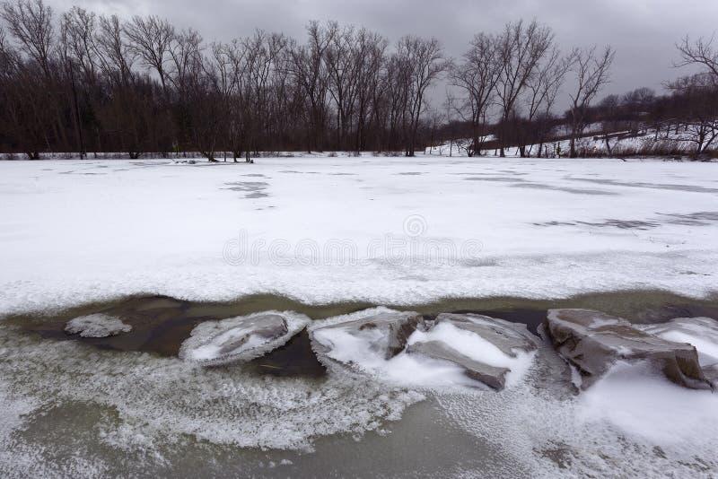 Luty 13, 2019 Windsor, Ontario Malden śnieg Zakrywający park fotografia royalty free