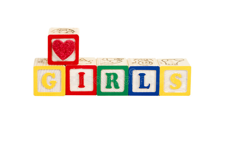 Luv girls white with path royalty free stock photography