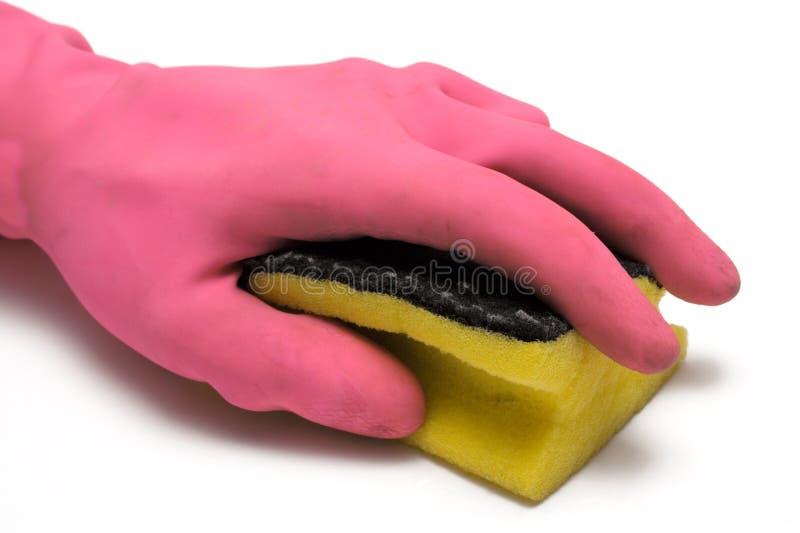Luva cor-de-rosa com esponja da limpeza foto de stock