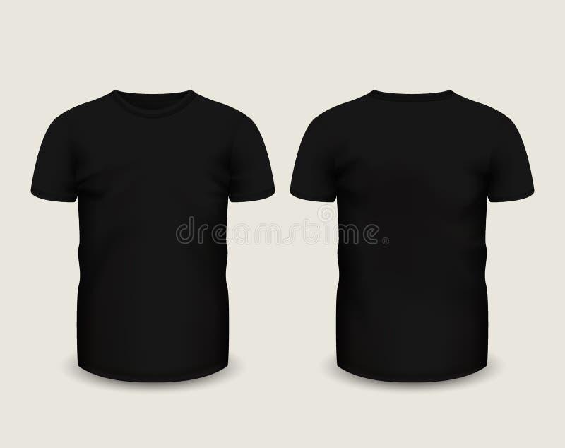 Luva curto do t-shirt preto dos homens na parte dianteira e em vistas traseiras Molde do vetor Malha feito a mão inteiramente edi ilustração royalty free