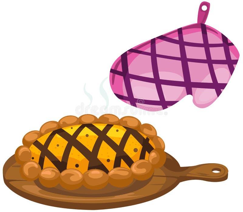 Luva da cozinha com torta ilustração do vetor