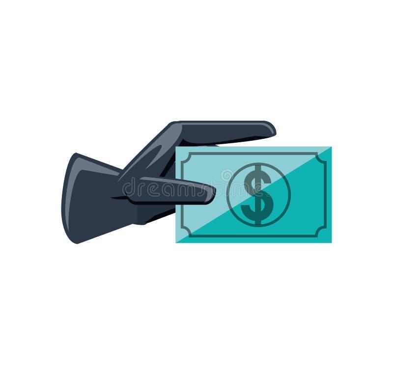 Luva de borracha com dólar da conta ilustração do vetor