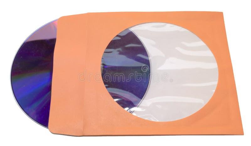 Luva de papel com a aleta para o único CD DVD Isolado fotografia de stock