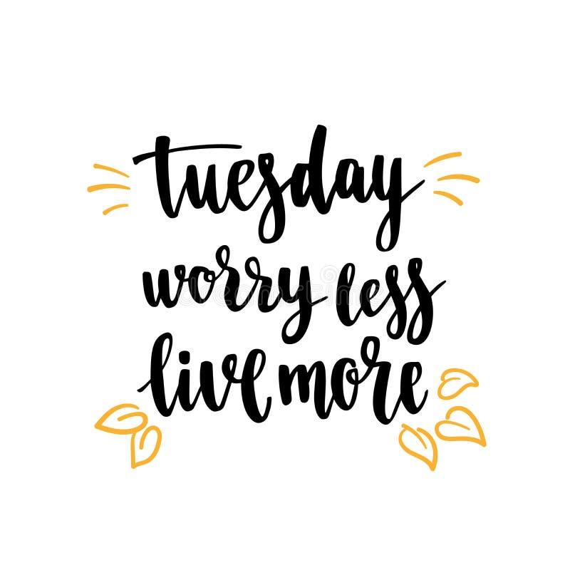 Luva do cartão do café Citações da motivação dos dias da semana terça-feira imagem de stock royalty free