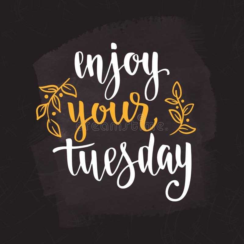 Luva do cartão do café Citações da motivação dos dias da semana terça-feira imagens de stock