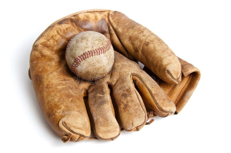 Luva e esfera de basebol do vintage foto de stock royalty free