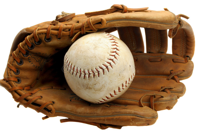 Luva e softball do basebol fotografia de stock royalty free