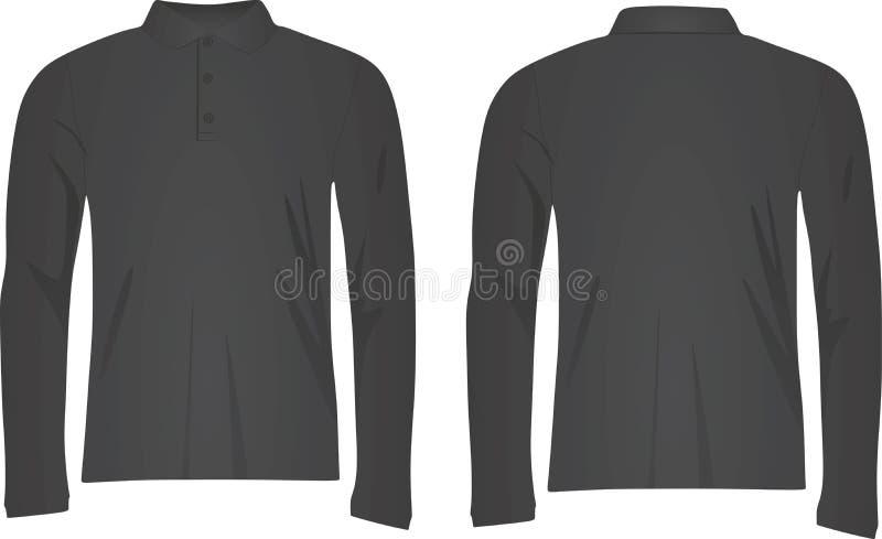 Luva longa da camisa cinzenta do polo t ilustração do vetor