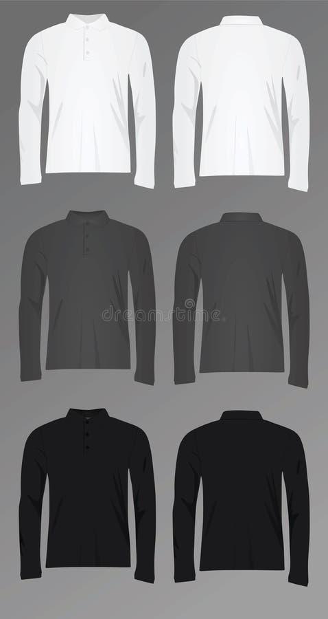 Luva longa da camisa do polo t dos homens ilustração do vetor