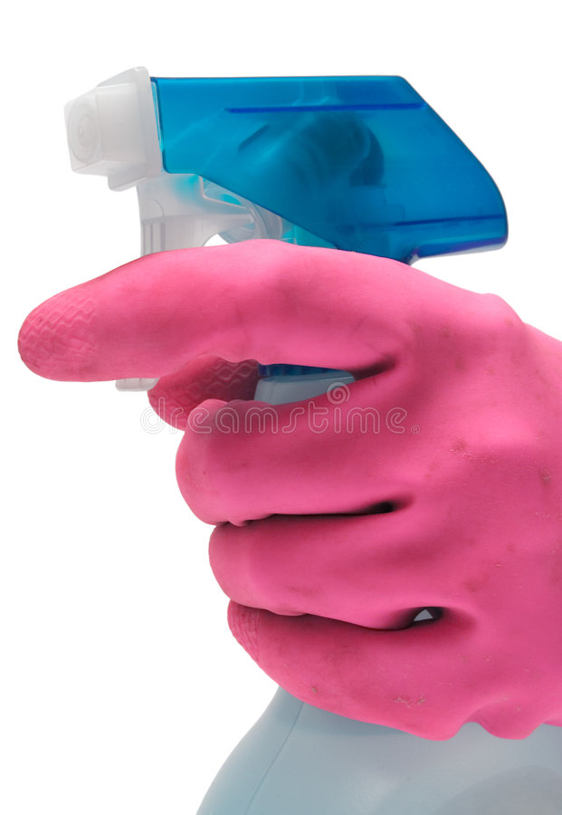 Luva roxa com frasco do pulverizador (vista lateral) foto de stock royalty free